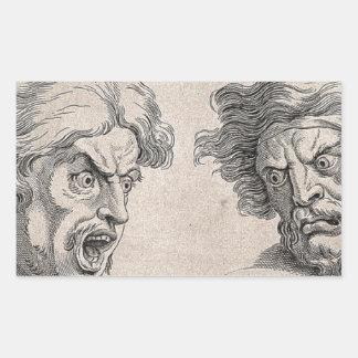 Adesivo Retangular Dois desenhos das caras irritadas