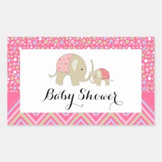 Adesivo Retangular Elefante e chá de fraldas boémios cor-de-rosa de