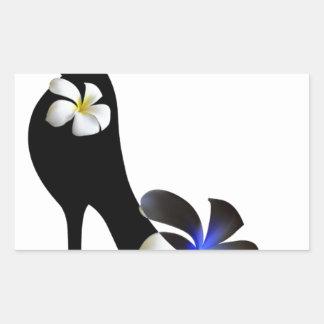 Adesivo Retangular Elegante preto alto-colocou saltos calçados.
