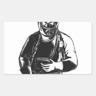 Adesivo Retangular EMT que veste o terno Scratchboard de Hazmat