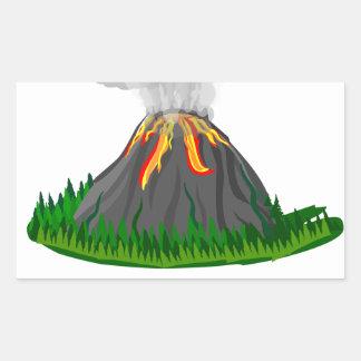 Adesivo Retangular erupção e fogo do vulcão