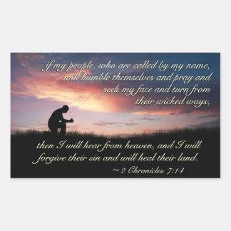Adesivo Retangular Escritura do 7:14 de 2 crónicas que Praying no por