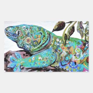 Adesivo Retangular Estilo do art deco do lagarto de Nova Caledônia