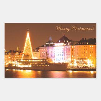 Adesivo Retangular Éstocolmo, suecia no Natal na noite