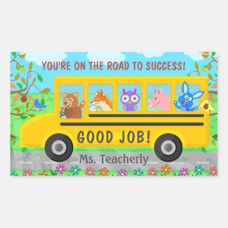 Adesivo Retangular Estrada bonito do ônibus da escola primária à