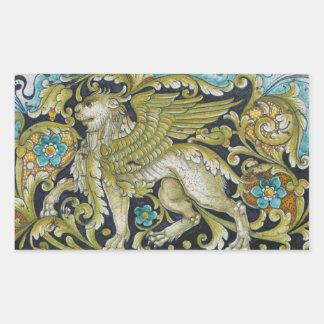 Adesivo Retangular Etiquetas--Leão do azulejo de Deruta