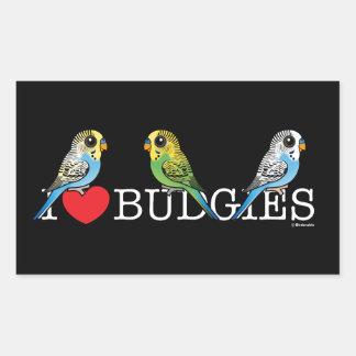 Adesivo Retangular Eu amo Budgies