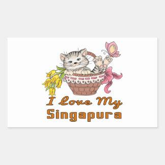 Adesivo Retangular Eu amo meu Singapura