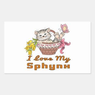 Adesivo Retangular Eu amo meu Sphynx