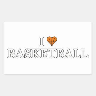 Adesivo Retangular Eu amo o basquetebol