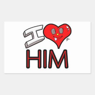 Adesivo Retangular Eu amo-o com coração