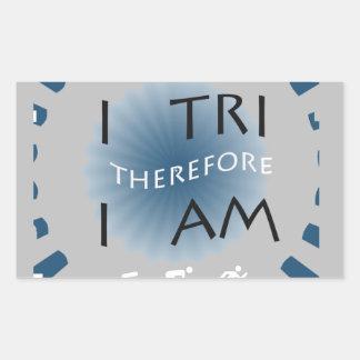 Adesivo Retangular Eu tri conseqüentemente mim sou Triathlon