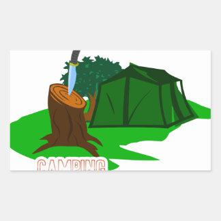 Adesivo Retangular Faca e barraca de acampamento