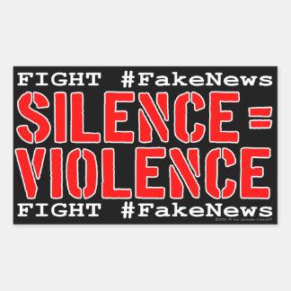 Adesivo Retangular #FakeNews da luta: O silêncio iguala a violência