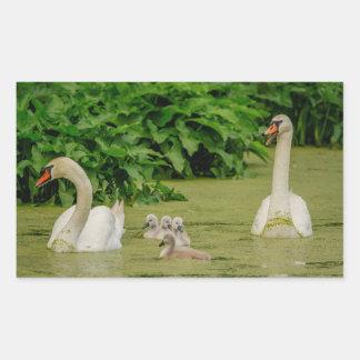 Adesivo Retangular Família da cisne