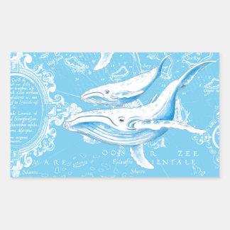 Adesivo Retangular Família das baleias azuis