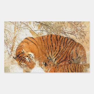 Adesivo Retangular Família em um blizzard - PaintingZ do tigre