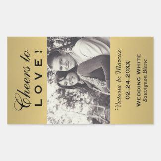Adesivo Retangular Favor Wedding colorido ouro da garrafa de vinho da