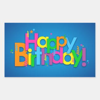 Adesivo Retangular Feliz aniversario - cores brilhantes