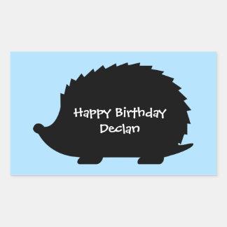 Adesivo Retangular Feliz aniversario feito sob encomenda do ouriço