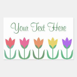 Adesivo Retangular Fileira colorida das tulipas do primavera do teste