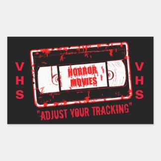 Adesivo Retangular Filmes de terror - a gaveta video ajusta seu