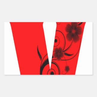 Adesivo Retangular Flor da letra V