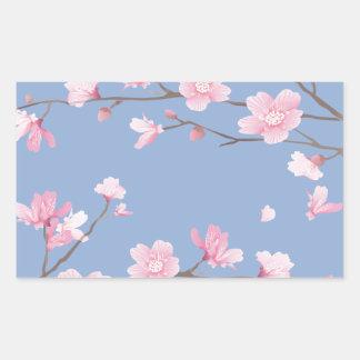 Adesivo Retangular Flor de cerejeira - azul da serenidade
