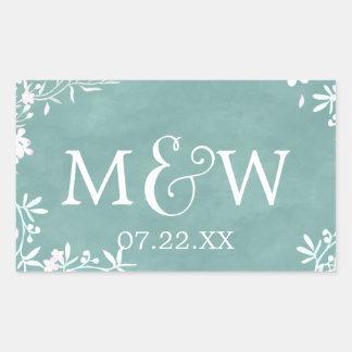 Adesivo Retangular Floral branco algum monograma do casamento da