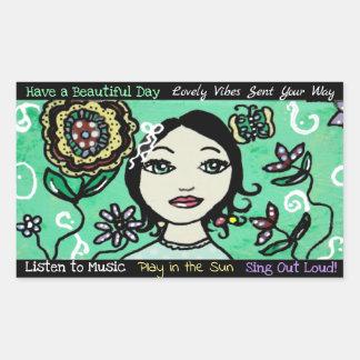 Adesivo Retangular Flores artísticas da menina e colorido lunáticos