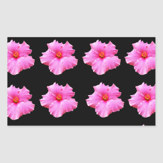 Adesivo Retangular Flores cor-de-rosa do hibiscus no preto, _