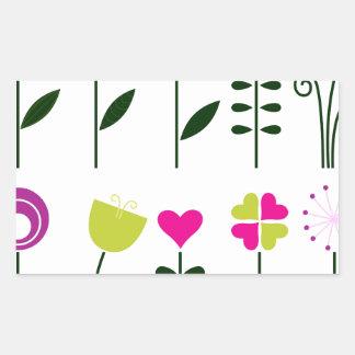 Adesivo Retangular Flores populares/preto cor-de-rosa mágico no