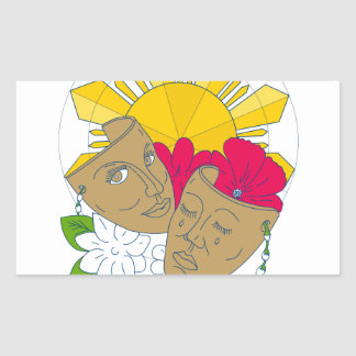Adesivo Retangular Fluxo filipino de Sampaguita do hibiscus de Sun da