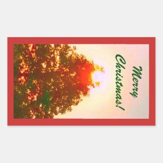 Adesivo Retangular Foto 2 das luzes de Natal do nascer do sol