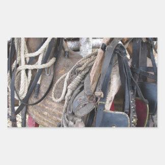 Adesivo Retangular Freios e bocados de couro gastos do cavalo