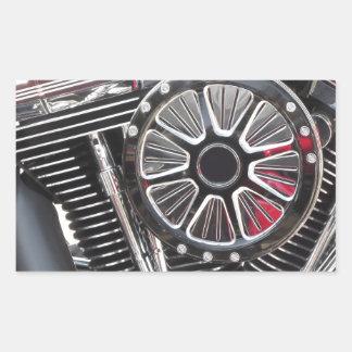 Adesivo Retangular Fundo cromado motocicleta do detalhe do motor