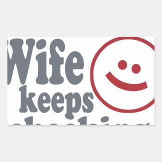 Adesivo Retangular gajo que sua esposa se mantem me verificar para