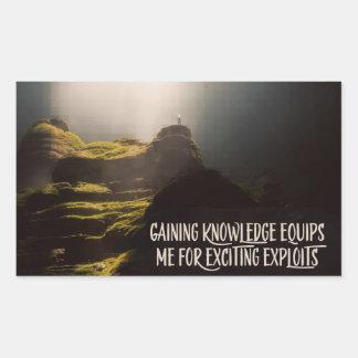 Adesivo Retangular Ganhar o conhecimento equipa-me