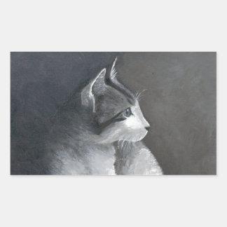 Adesivo Retangular Gatinho do gato malhado
