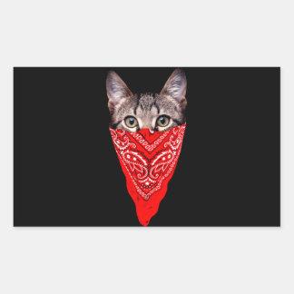 Adesivo Retangular gato do gângster - gato do bandana - grupo do gato