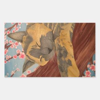 Adesivo Retangular Gato do sono da flor de cerejeira