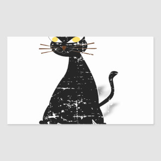 Adesivo Retangular Gato gordo preto afligido