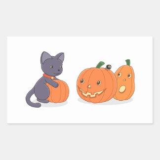 Adesivo Retangular Gato preto e abóboras do Dia das Bruxas