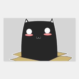 Adesivo Retangular Gato preto em uma caixa