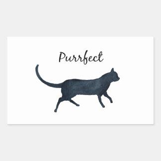 "Adesivo Retangular Gato preto ""purrfect """