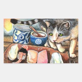 Adesivo Retangular Gato que olha o sushi