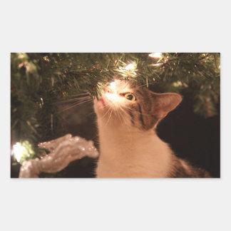 Adesivo Retangular Gatos e luzes - gato do Natal - árvore de Natal