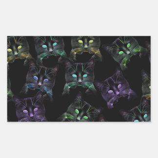 Adesivo Retangular Gatos legal no preto! gatos Multi-coloridos