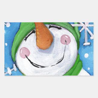 Adesivo Retangular Gelado o boneco de neve feliz