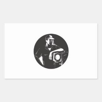 Adesivo Retangular Grupo de filme que ilumina o círculo Woodcu do
